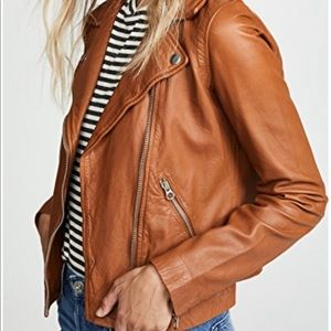 Madewell Washed Leather jacket in cognac